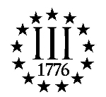 3 Percenter Vinyl Decal With 13 Stars & 1776